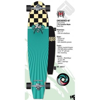 """Long skate """"checkered"""" de flying wings 46"""""""